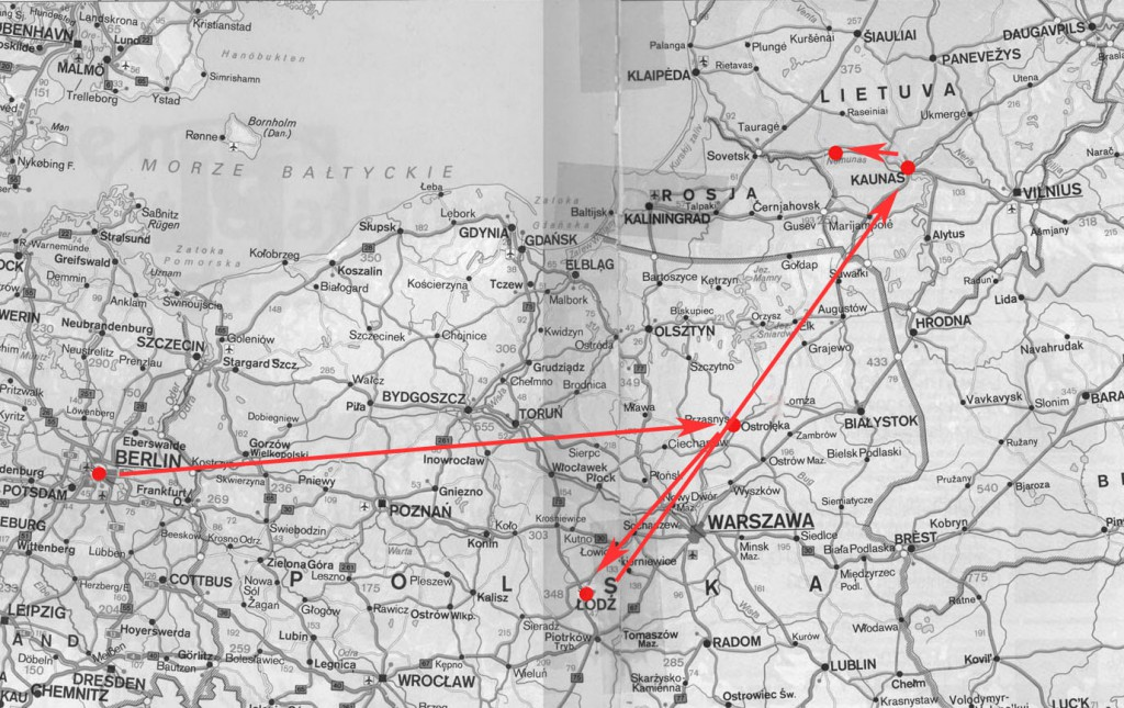 Reiseroute Januar 2005: Berlin - Ostroleka - Lodz - Kaunas - Gelgaudiskis